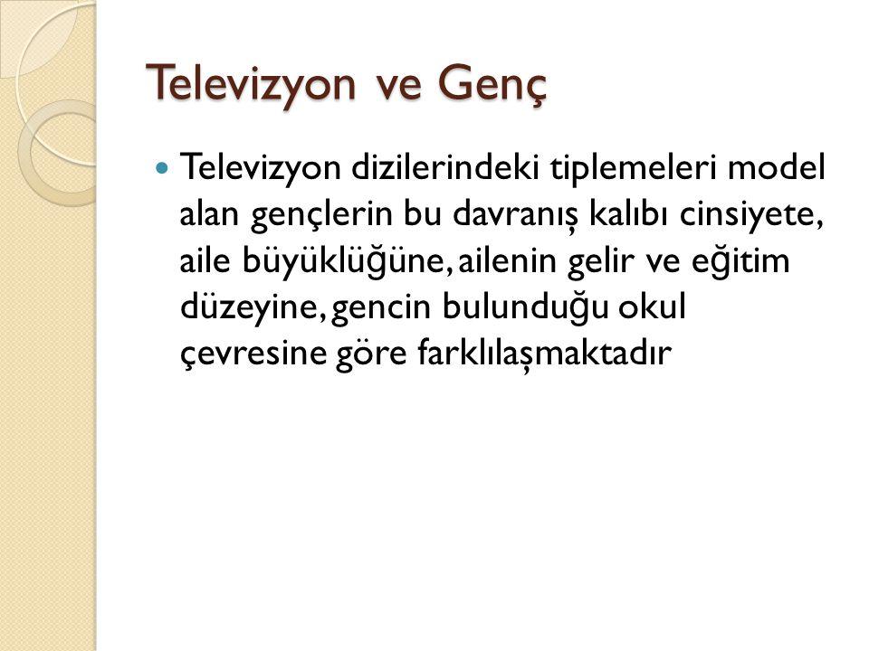 Televizyon ve Genç Televizyon dizilerindeki tiplemeleri model alan gençlerin bu davranış kalıbı cinsiyete, aile büyüklü ğ üne, ailenin gelir ve e ğ it