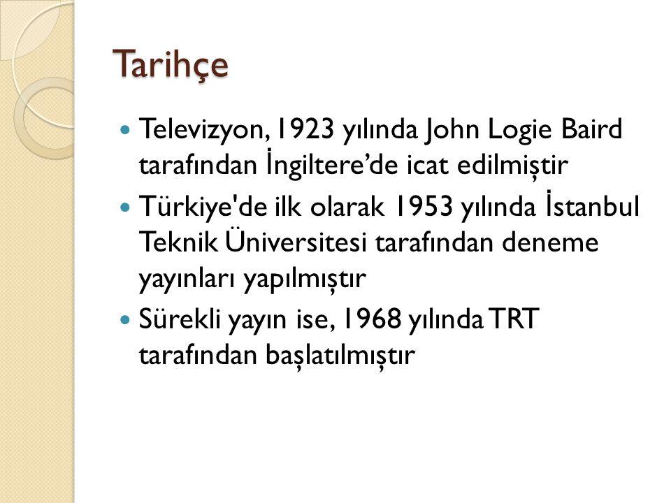 Tarihçe Televizyon, 1923 yılında John Logie Baird tarafından İ ngiltere'de icat edilmiştir Türkiye'de ilk olarak 1953 yılında İ stanbul Teknik Ünivers