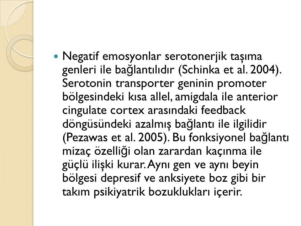 Negatif emosyonlar serotonerjik taşıma genleri ile ba ğ lantılıdır (Schinka et al. 2004). Serotonin transporter geninin promoter bölgesindeki kısa all