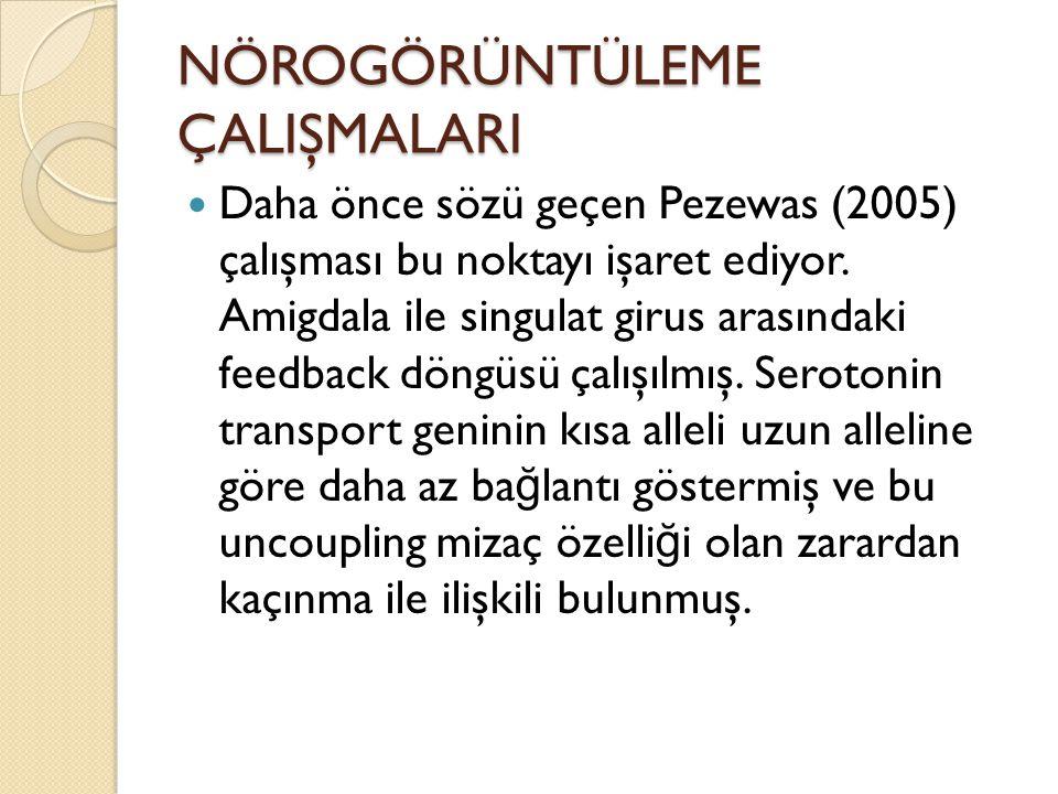 NÖROGÖRÜNTÜLEME ÇALIŞMALARI Daha önce sözü geçen Pezewas (2005) çalışması bu noktayı işaret ediyor. Amigdala ile singulat girus arasındaki feedback dö