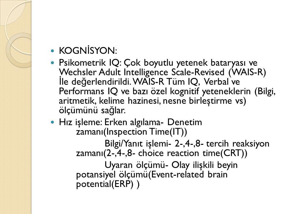 KOGN İ SYON: Psikometrik IQ: Çok boyutlu yetenek bataryası ve Wechsler Adult Intelligence Scale-Revised (WAIS-R) İ le de ğ erlendirildi. WAIS-R Tüm IQ