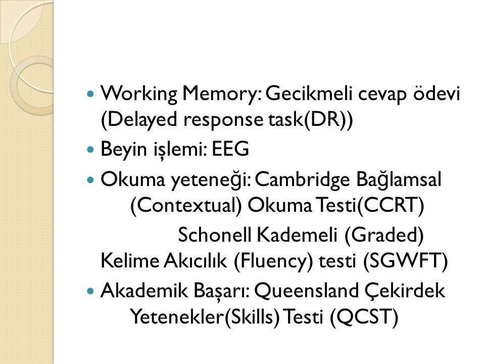 Working Memory: Gecikmeli cevap ödevi (Delayed response task(DR)) Beyin işlemi: EEG Okuma yetene ğ i: Cambridge Ba ğ lamsal (Contextual) Okuma Testi(C