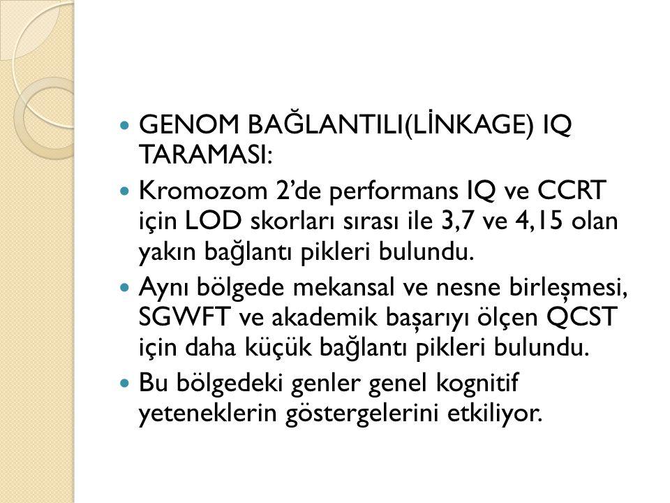 GENOM BA Ğ LANTILI(L İ NKAGE) IQ TARAMASI: Kromozom 2'de performans IQ ve CCRT için LOD skorları sırası ile 3,7 ve 4,15 olan yakın ba ğ lantı pikleri