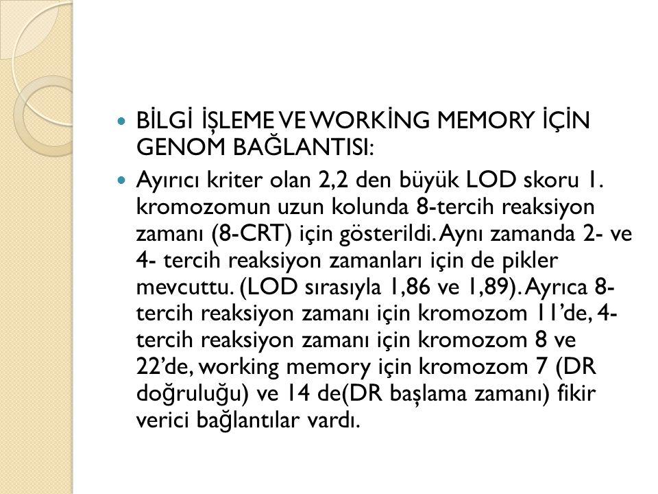 B İ LG İ İ ŞLEME VE WORK İ NG MEMORY İ Ç İ N GENOM BA Ğ LANTISI: Ayırıcı kriter olan 2,2 den büyük LOD skoru 1. kromozomun uzun kolunda 8-tercih reaks