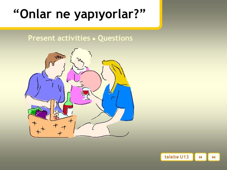 Onlar ne yapıyorlar? Present activities ● Questions  talebe U13