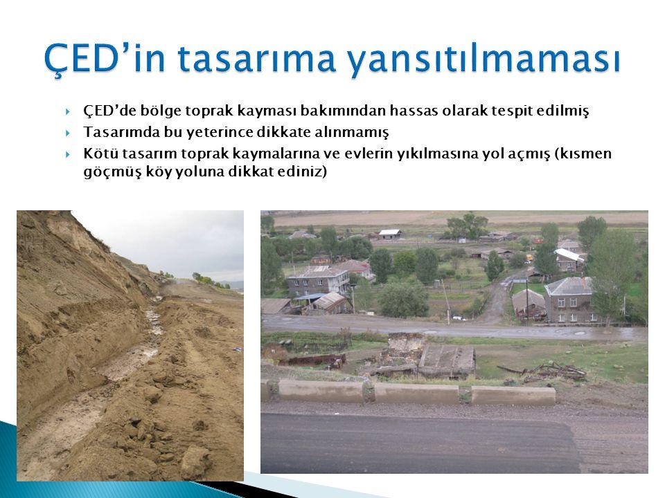  ÇED'de bölge toprak kayması bakımından hassas olarak tespit edilmiş  Tasarımda bu yeterince dikkate alınmamış  Kötü tasarım toprak kaymalarına ve