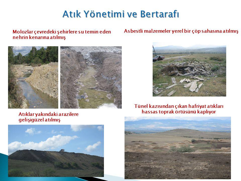 Asbestli malzemeler yerel bir çöp sahasına atılmış Molozlar çevredeki şehirlere su temin eden nehrin kenarına atılmış Atıklar yakındaki arazilere geli