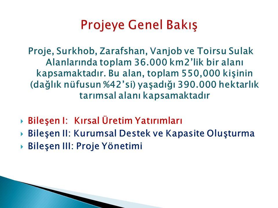 Proje, Surkhob, Zarafshan, Vanjob ve Toirsu Sulak Alanlarında toplam 36.000 km2'lik bir alanı kapsamaktadır. Bu alan, toplam 550,000 kişinin (dağlık n