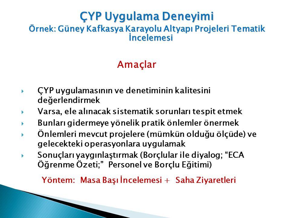Gürcistan Doğu-Batı Karayolu İyileştirme Projesi 1 (EWHIP 1) EWHIP 2 EWHIP 3 İkincil ve Yerel Karayolları İyileştirme Projesi (SLRP) – (çok sayıda küçük proje yolu) Ek Finansman Projeleri Ermenistan Cankurtaran Karayolu İyileştirme Projesi (LRIP) Çok sayıda küçük proje karayolu (1- 6 km) Azerbaycan Azerbaycan Karayolları I Azerbaycan Karayolları II (Kategori A projesi) Azerbaycan Karayolları II- Ek Finansman I ve II (Her bir proje kapsamında birden fazla yol kesimi bulunmaktadır) İncelenen Projeler