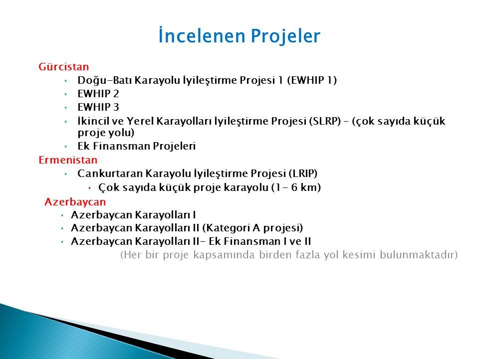 Gürcistan Doğu-Batı Karayolu İyileştirme Projesi 1 (EWHIP 1) EWHIP 2 EWHIP 3 İkincil ve Yerel Karayolları İyileştirme Projesi (SLRP) – (çok sayıda küç