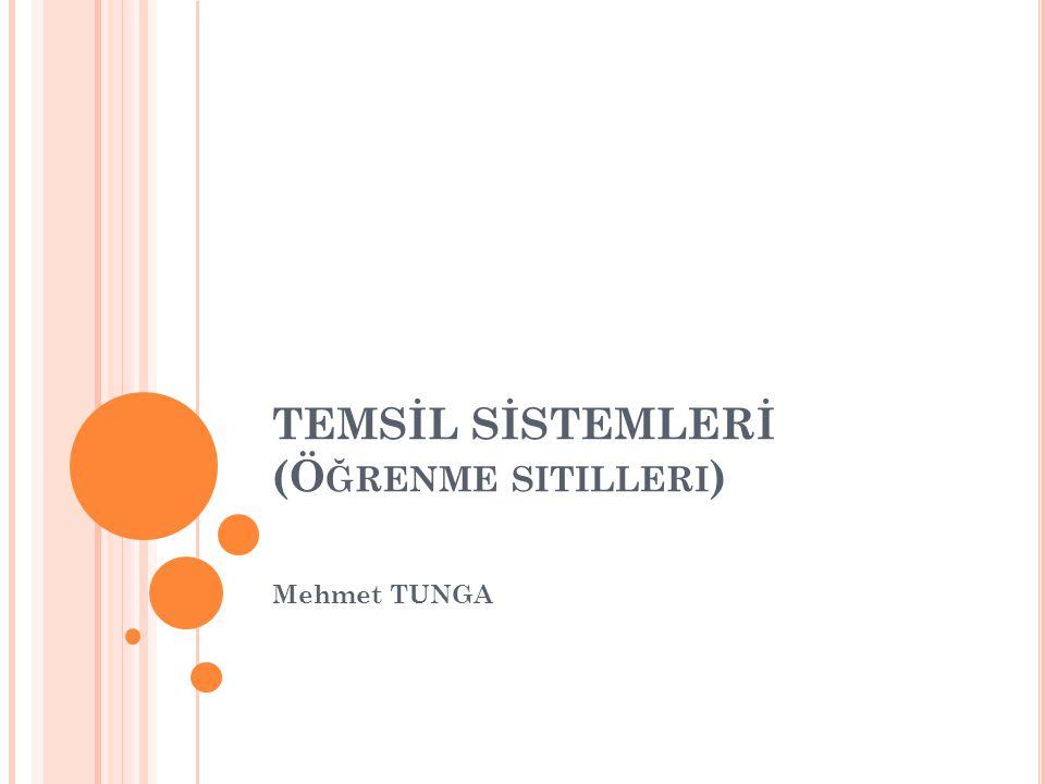 TEMSİL SİSTEMLERİ (Ö ĞRENME SITILLERI ) Mehmet TUNGA