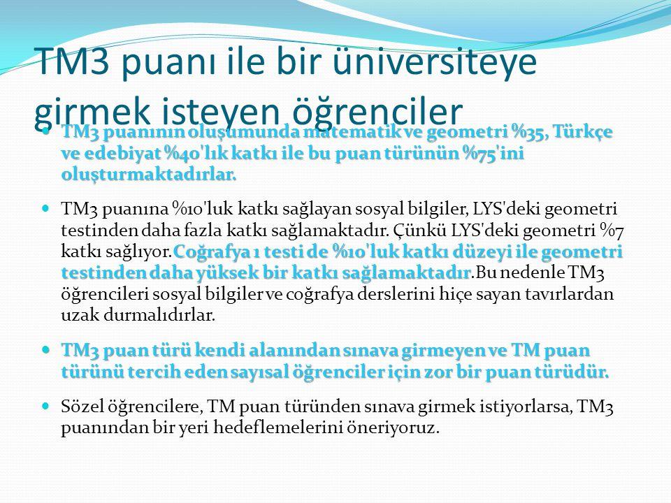 TM3 puanı ile bir üniversiteye girmek isteyen öğrenciler TM3 puanının oluşumunda matematik ve geometri %35, Türkçe ve edebiyat %40'lık katkı ile bu pu