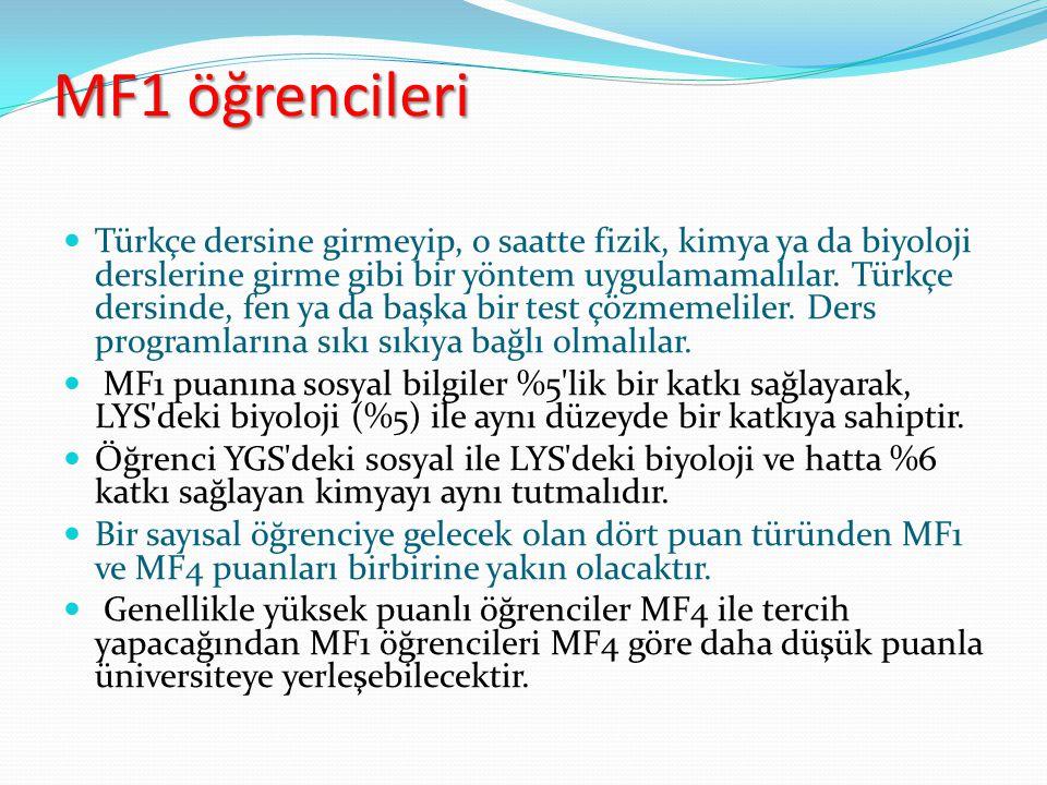 MF1 öğrencileri Türkçe dersine girmeyip, o saatte fizik, kimya ya da biyoloji derslerine girme gibi bir yöntem uygulamamalılar. Türkçe dersinde, fen y
