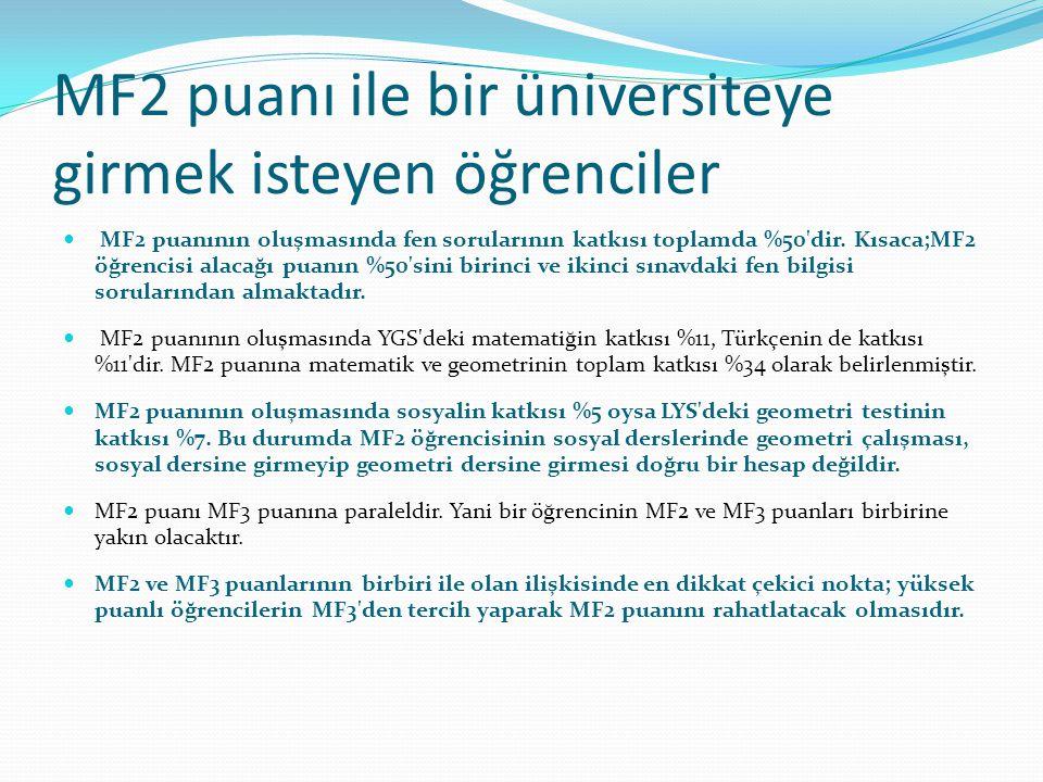 MF2 puanı ile bir üniversiteye girmek isteyen öğrenciler MF2 puanının oluşmasında fen sorularının katkısı toplamda %50'dir. Kısaca;MF2 öğrencisi alaca