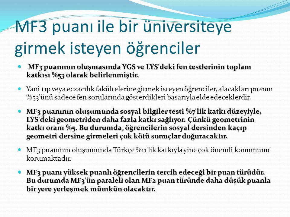 MF3 puanı ile bir üniversiteye girmek isteyen öğrenciler MF3 puanının oluşmasında YGS ve LYS deki fen testlerinin toplam katkısı %53 olarak belirlenmiştir.