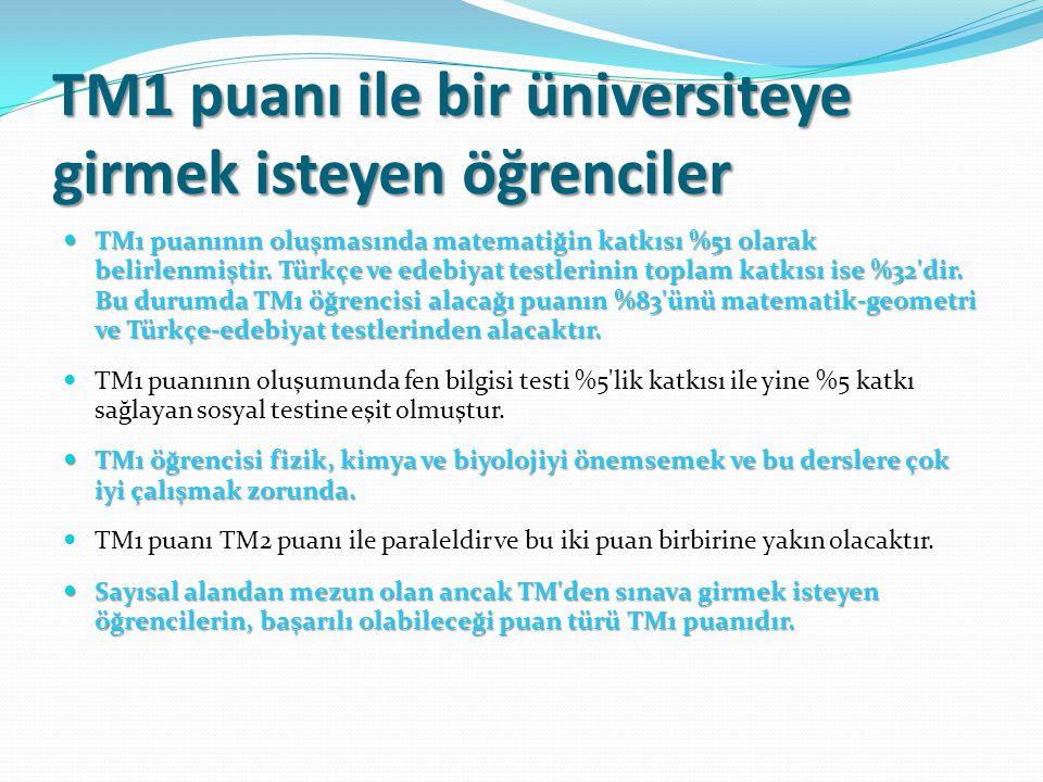 TM1 puanı ile bir üniversiteye girmek isteyen öğrenciler TM1 puanının oluşmasında matematiğin katkısı %51 olarak belirlenmiştir. Türkçe ve edebiyat te