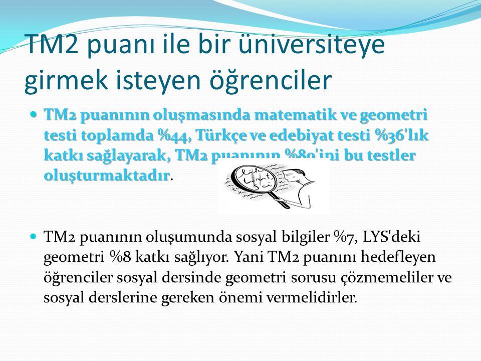 TM2 puanı ile bir üniversiteye girmek isteyen öğrenciler TM2 puanının oluşmasında matematik ve geometri testi toplamda %44, Türkçe ve edebiyat testi %36 lık katkı sağlayarak, TM2 puanının %80 ini bu testler oluşturmaktadır TM2 puanının oluşmasında matematik ve geometri testi toplamda %44, Türkçe ve edebiyat testi %36 lık katkı sağlayarak, TM2 puanının %80 ini bu testler oluşturmaktadır.