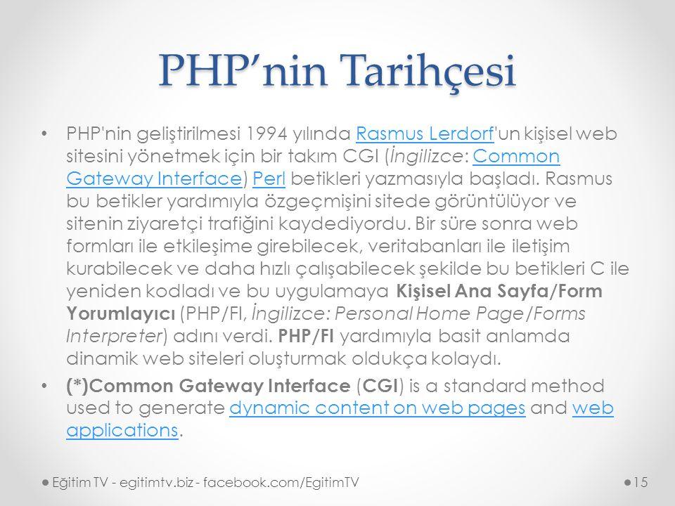 PHP'nin Tarihçesi PHP nin geliştirilmesi 1994 yılında Rasmus Lerdorf un kişisel web sitesini yönetmek için bir takım CGI (İngilizce: Common Gateway Interface) Perl betikleri yazmasıyla başladı.