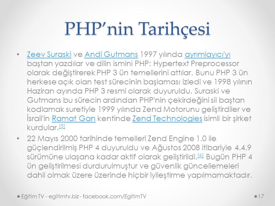 PHP'nin Tarihçesi Zeev Suraski ve Andi Gutmans 1997 yılında ayrımlayıcı yı baştan yazdılar ve dilin ismini PHP: Hypertext Preprocessor olarak değiştirerek PHP 3 ün temellerini attılar.