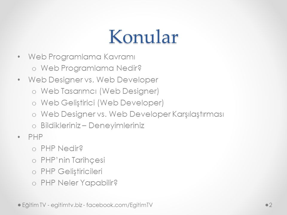 Konular Web Programlama Kavramı o Web Programlama Nedir.