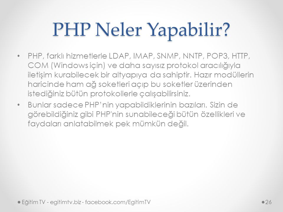 PHP Neler Yapabilir.