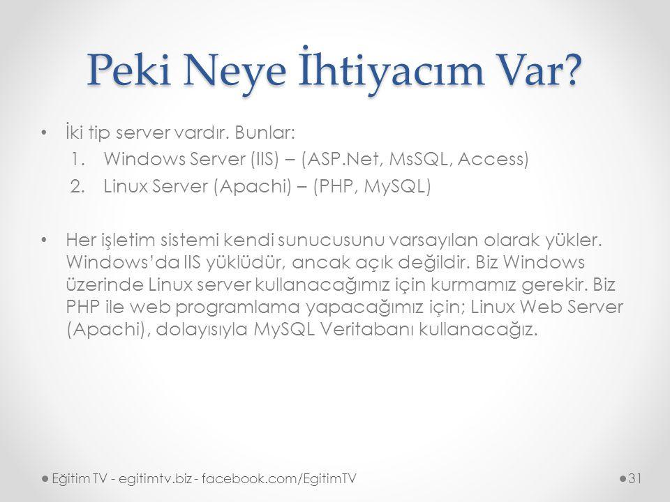 Peki Neye İhtiyacım Var.İki tip server vardır.