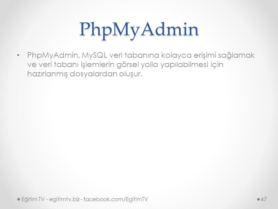 PhpMyAdmin PhpMyAdmin, MySQL veri tabanına kolayca erişimi sağlamak ve veri tabanı işlemlerin görsel yolla yapılabilmesi için hazırlanmış dosyalardan oluşur.