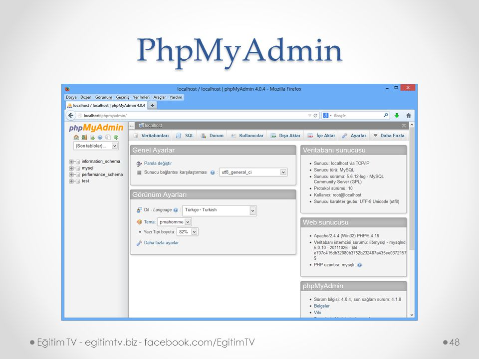 PhpMyAdmin Eğitim TV - egitimtv.biz - facebook.com/EgitimTV48