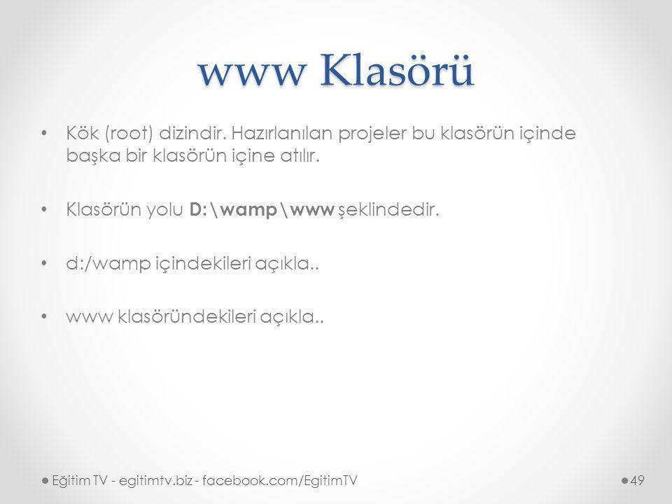 www Klasörü Kök (root) dizindir.
