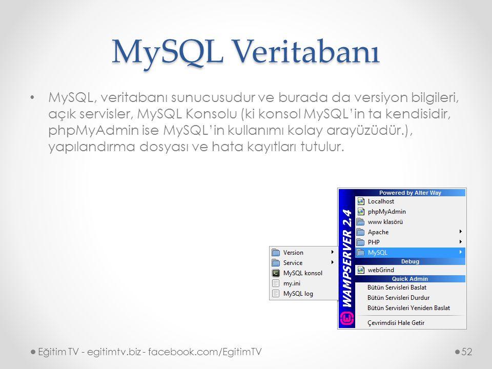 MySQL Veritabanı MySQL, veritabanı sunucusudur ve burada da versiyon bilgileri, açık servisler, MySQL Konsolu (ki konsol MySQL'in ta kendisidir, phpMyAdmin ise MySQL'in kullanımı kolay arayüzüdür.), yapılandırma dosyası ve hata kayıtları tutulur.