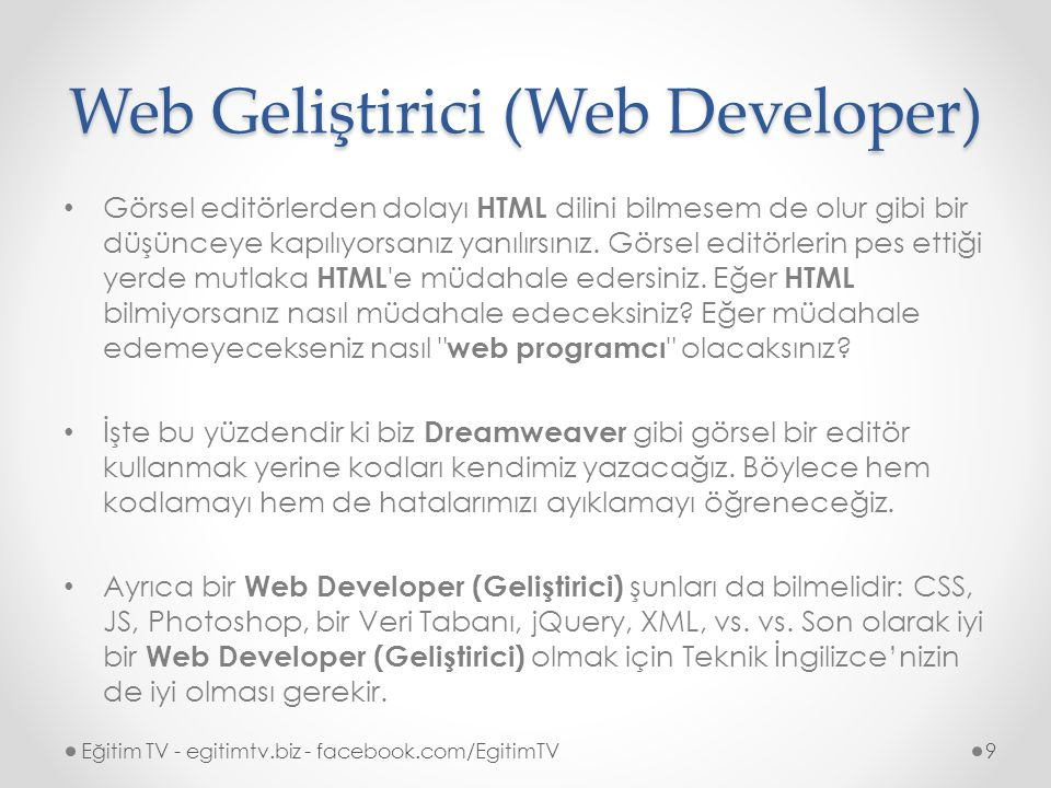 Web Designer vs. Web Developer Eğitim TV - egitimtv.biz - facebook.com/EgitimTV10