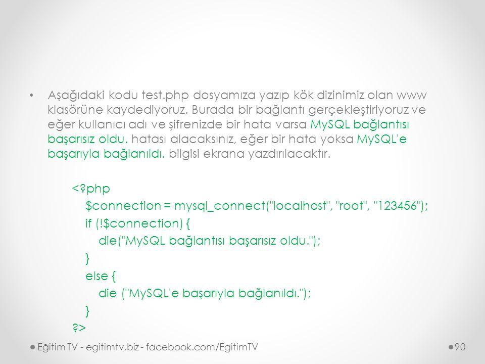 Aşağıdaki kodu test.php dosyamıza yazıp kök dizinimiz olan www klasörüne kaydediyoruz.