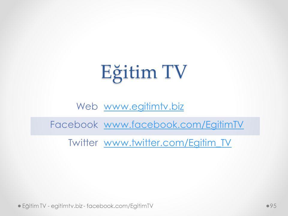 Eğitim TV Eğitim TV - egitimtv.biz - facebook.com/EgitimTV95 Webwww.egitimtv.biz Facebookwww.facebook.com/EgitimTV Twitterwww.twitter.com/Egitim_TV