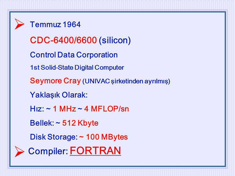 Temmuz 1964 CDC-6400/6600 (silicon) Control Data Corporation 1st Solid-State Digital Computer Seymore Cray (UNIVAC şirketinden ayrılmış) Yaklaşık Olar