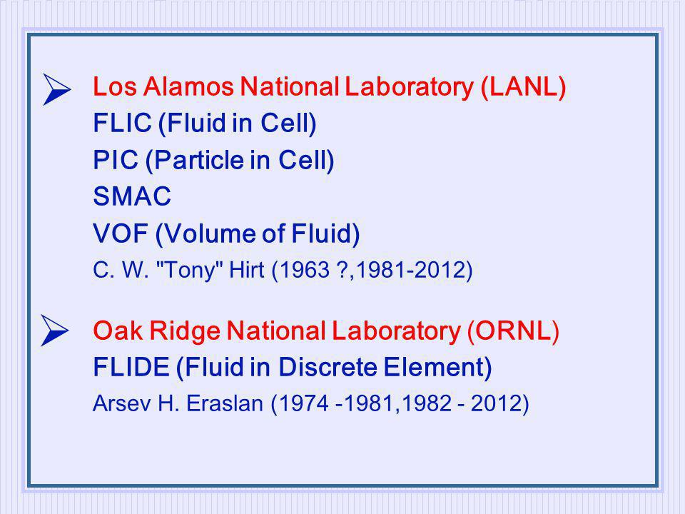 Los Alamos National Laboratory (LANL) FLIC (Fluid in Cell) PIC (Particle in Cell) SMAC VOF (Volume of Fluid) C.