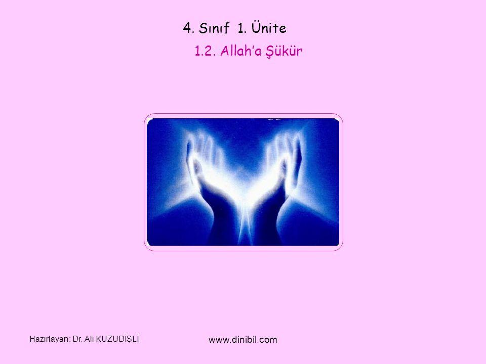 Hazırlayan: Dr. Ali KUZUDİŞLİ www.dinibil.com 4. Sınıf 1. Ünite 1.2. Allah'a Şükür