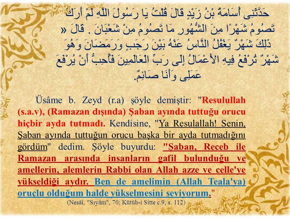 Üsâme b. Zeyd (r.a) şöyle demiştir: