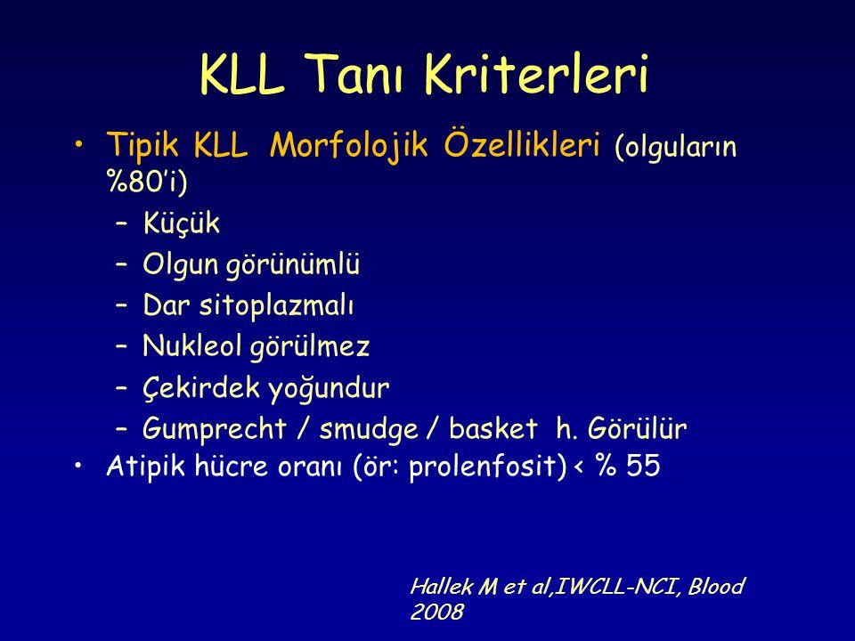 Tipik KLL Morfolojik Özellikleri (olguların %80'i) –Küçük –Olgun görünümlü –Dar sitoplazmalı –Nukleol görülmez –Çekirdek yoğundur –Gumprecht / smudge / basket h.