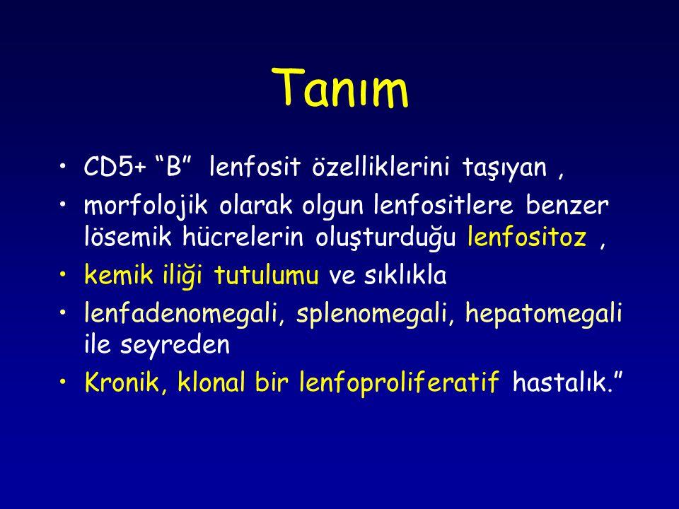 KLL- Tedavi Spesifik tedavi-2: Kombinasyonlar Purin analoğu + alkilleyiciler (ör:FLD+siklofosfamid) Kemo-immünoterapi: en yüksek yanıt ve yanıt süresi ör: Purin analoğu + alkilleyici+ monoklonal antikor (antiCD20) Kök hücre nakli : – genç /yüksek riskli/refrakter/nüks olgularda)