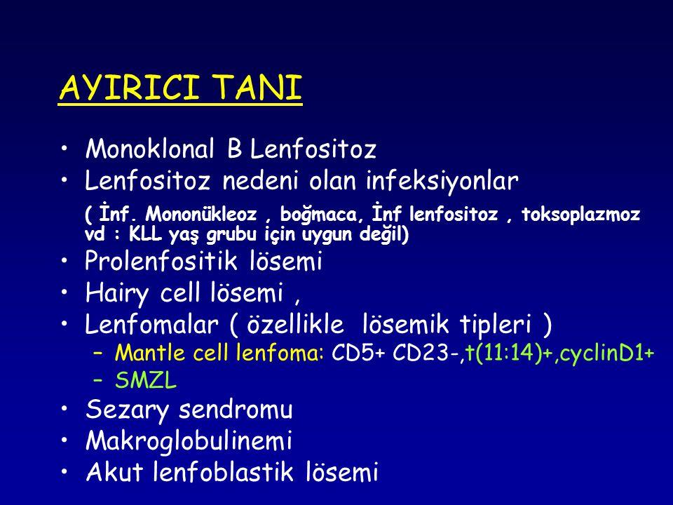 AYIRICI TANI Monoklonal B Lenfositoz Lenfositoz nedeni olan infeksiyonlar ( İnf.