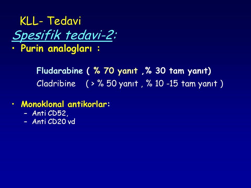 KLL- Tedavi Spesifik tedavi-2: Purin analogları : Fludarabine ( % 70 yanıt,% 30 tam yanıt) Cladribine ( > % 50 yanıt, % 10 -15 tam yanıt ) Monoklonal antikorlar: –Anti CD52, –Anti CD20 vd