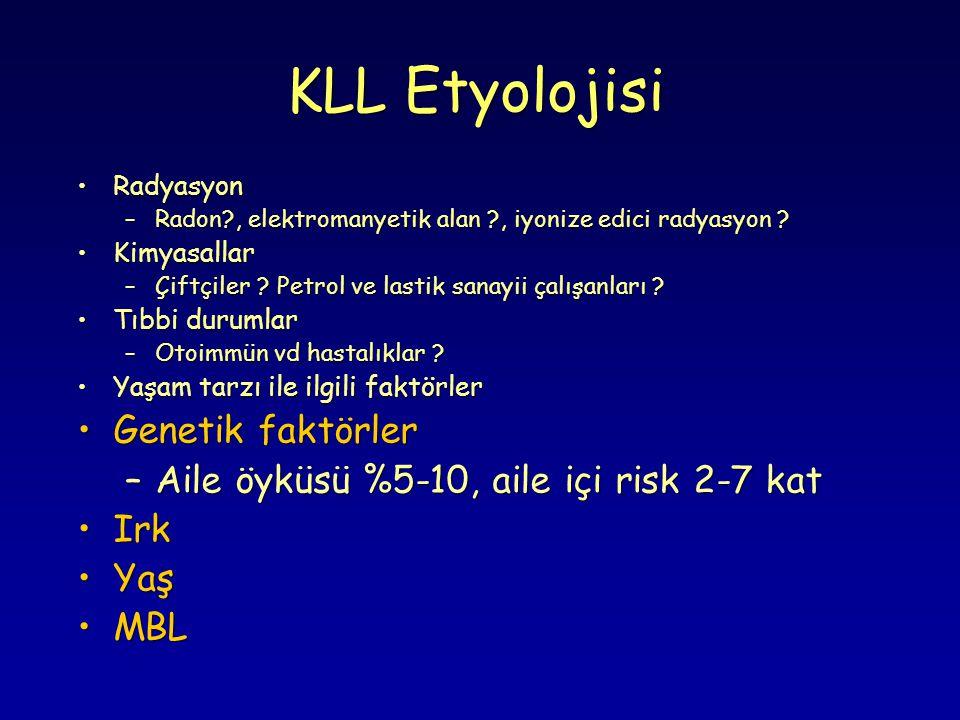 KLL- LAB Bulguları-1 Lenfositoz : > 5000/mm 3 B lenfosit Başlangıçta genellikle 10.000 - 20.0000 / mm 3 arasında, bazı olgularda çok yüksek değerlerde.