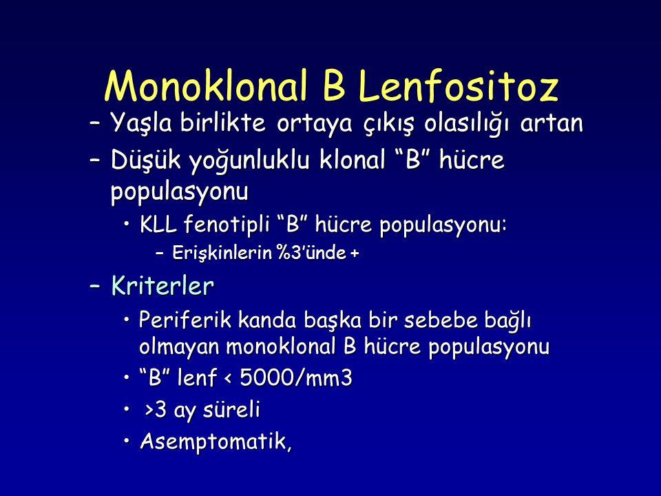 Monoklonal B Lenfositoz –Yaşla birlikte ortaya çıkış olasılığı artan –Düşük yoğunluklu klonal B hücre populasyonu KLL fenotipli B hücre populasyonu:KLL fenotipli B hücre populasyonu: –Erişkinlerin %3'ünde + –Kriterler Periferik kanda başka bir sebebe bağlı olmayan monoklonal B hücre populasyonuPeriferik kanda başka bir sebebe bağlı olmayan monoklonal B hücre populasyonu B lenf < 5000/mm3 B lenf < 5000/mm3 >3 ay süreli >3 ay süreli Asemptomatik,Asemptomatik,