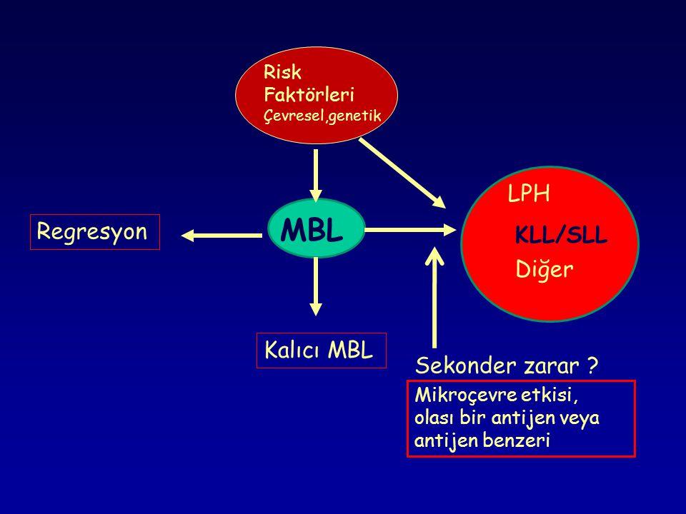 LAB Bulguları Otoimmün hemolitik anemi ; Haptoglobin azalır, LDH, indirekt bilirübin, retikülosit, ürobilinojen artışı ve Coombs +'liği Hipogamaglobulinemi veya nadiren monoklonal paraproteinemi