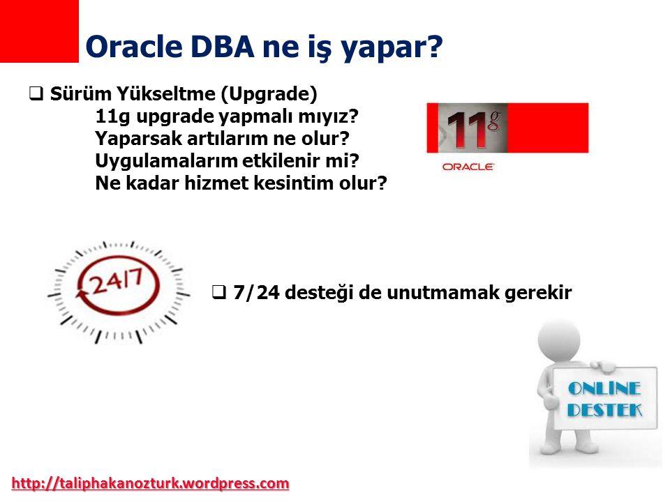  Sürüm Yükseltme (Upgrade) 11g upgrade yapmalı mıyız? Yaparsak artılarım ne olur? Uygulamalarım etkilenir mi? Ne kadar hizmet kesintim olur? http://t