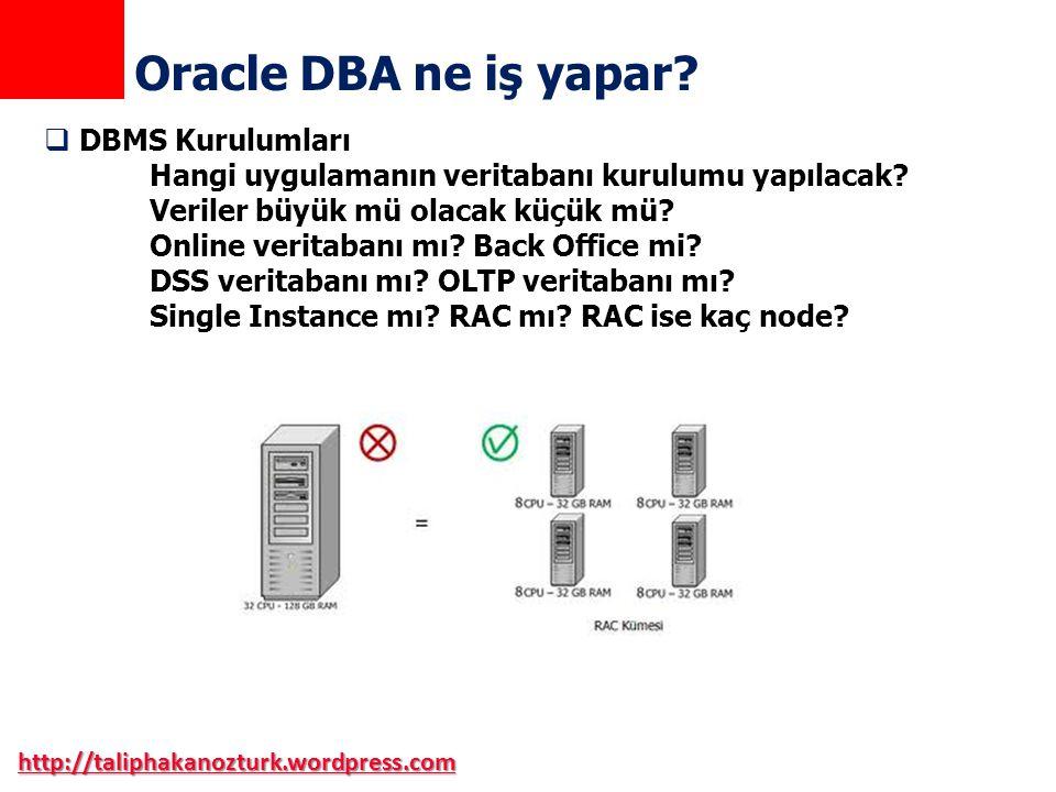 http://taliphakanozturk.wordpress.com Oracle DBA ne iş yapar?  DBMS Kurulumları Hangi uygulamanın veritabanı kurulumu yapılacak? Veriler büyük mü ola