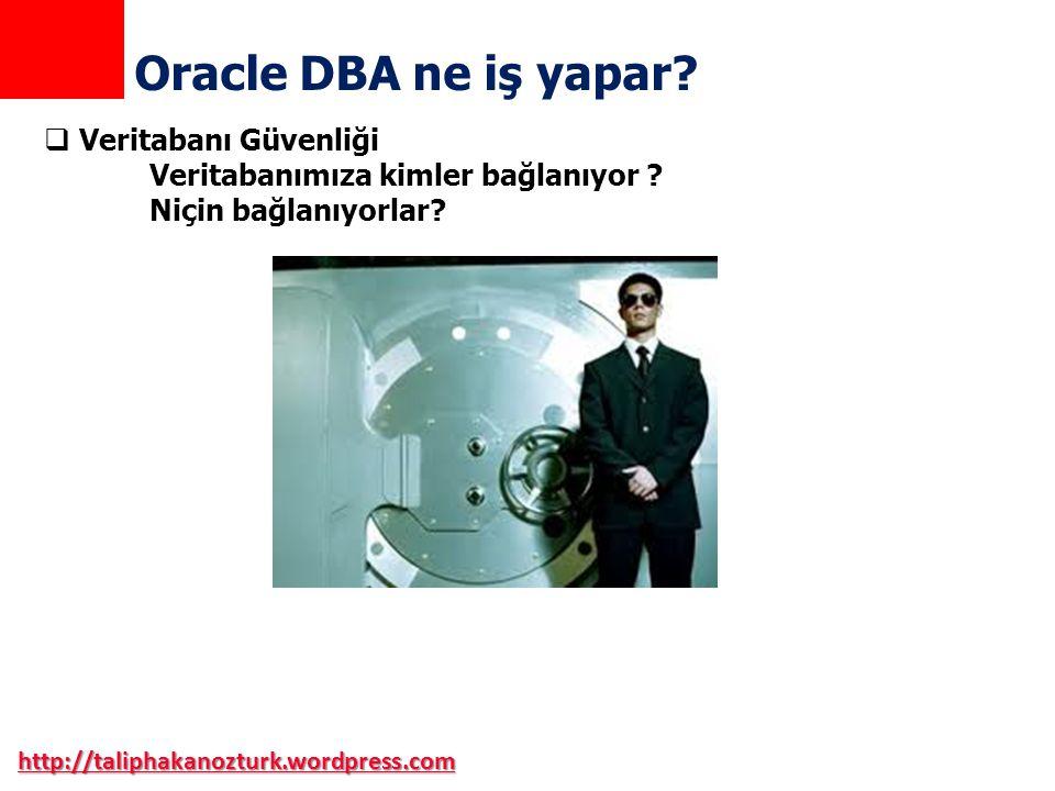 http://taliphakanozturk.wordpress.com Oracle DBA ne iş yapar?  Veritabanı Güvenliği Veritabanımıza kimler bağlanıyor ? Niçin bağlanıyorlar?
