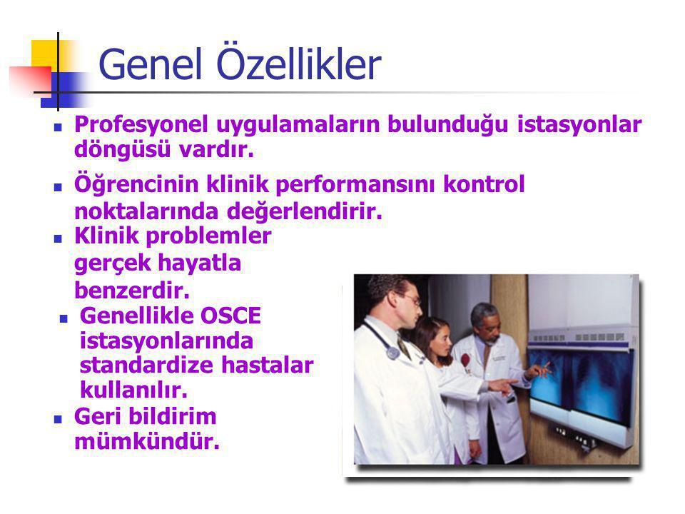 Genel Özellikler Profesyonel uygulamaların bulunduğu istasyonlar döngüsü vardır. Öğrencinin klinik performansını kontrol noktalarında değerlendirir. G