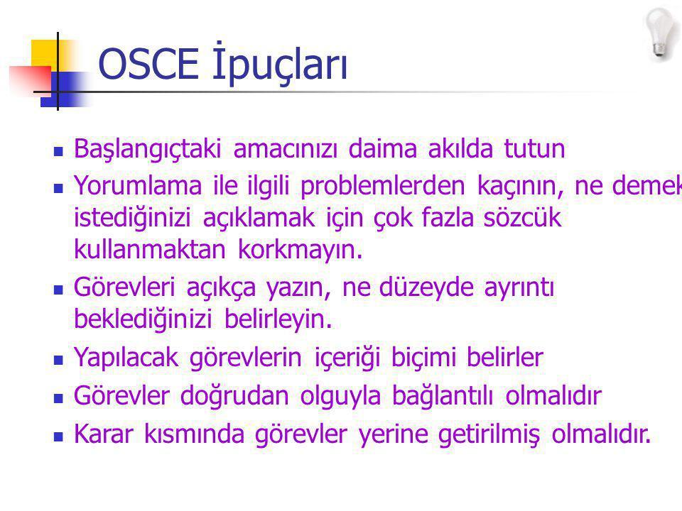 OSCE İpuçları Başlangıçtaki amacınızı daima akılda tutun Yorumlama ile ilgili problemlerden kaçının, ne demek istediğinizi açıklamak için çok fazla sözcük kullanmaktan korkmayın.
