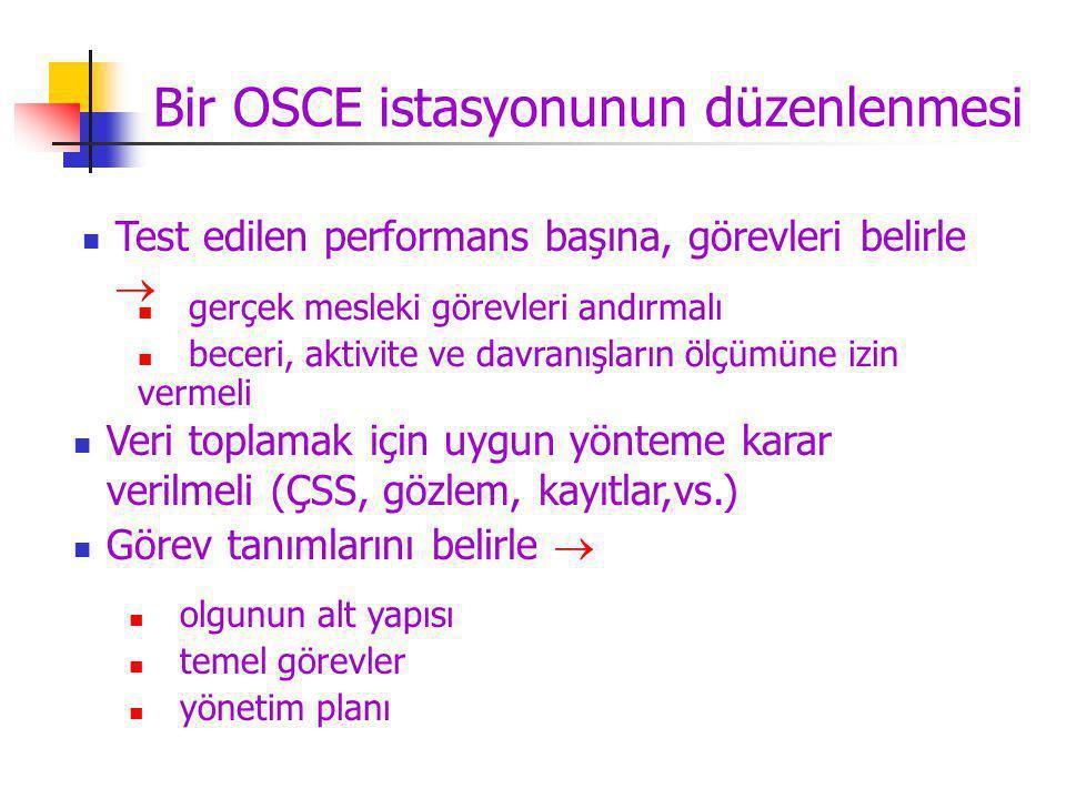 Bir OSCE istasyonunun düzenlenmesi Test edilen performans başına, görevleri belirle  Veri toplamak için uygun yönteme karar verilmeli (ÇSS, gözlem, kayıtlar,vs.) Görev tanımlarını belirle  gerçek mesleki görevleri andırmalı beceri, aktivite ve davranışların ölçümüne izin vermeli olgunun alt yapısı temel görevler yönetim planı